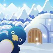 动物们与下雪的岛